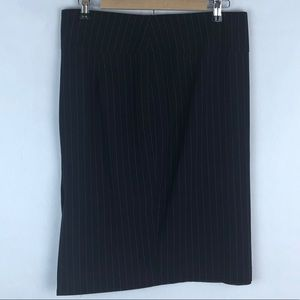 Michael Studio Striped Gray Black Midi Skirt Large